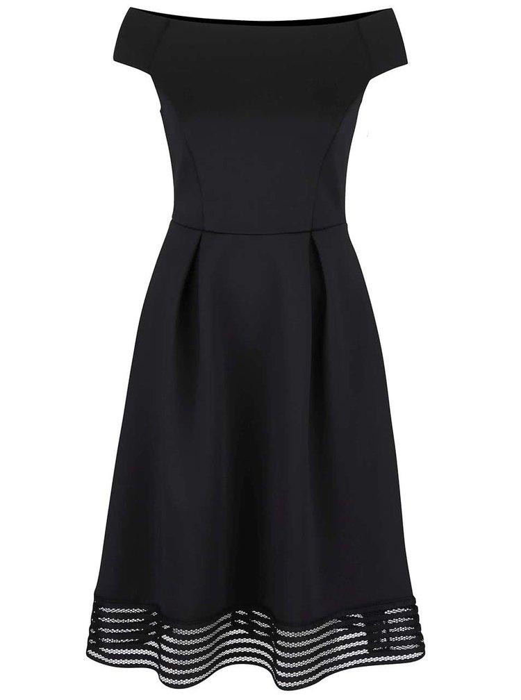 Čierne šaty s ozdobným priehľadným lemom Dorothy Perkins
