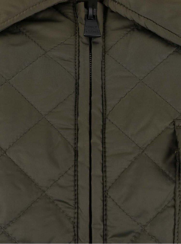 Tmavě zelená prošívaná bunda s kapsou ONLY & SONS Josep