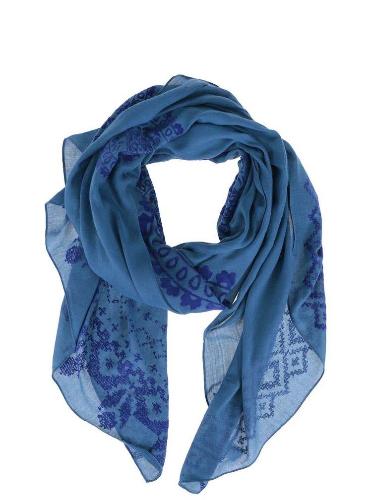 Esarfa albastra Desigual Wool cu imprimeu