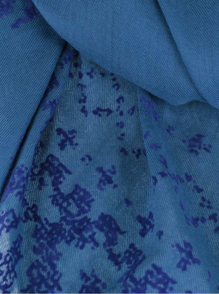 Eșarfă albastră Desigual Wool cu imprimeu