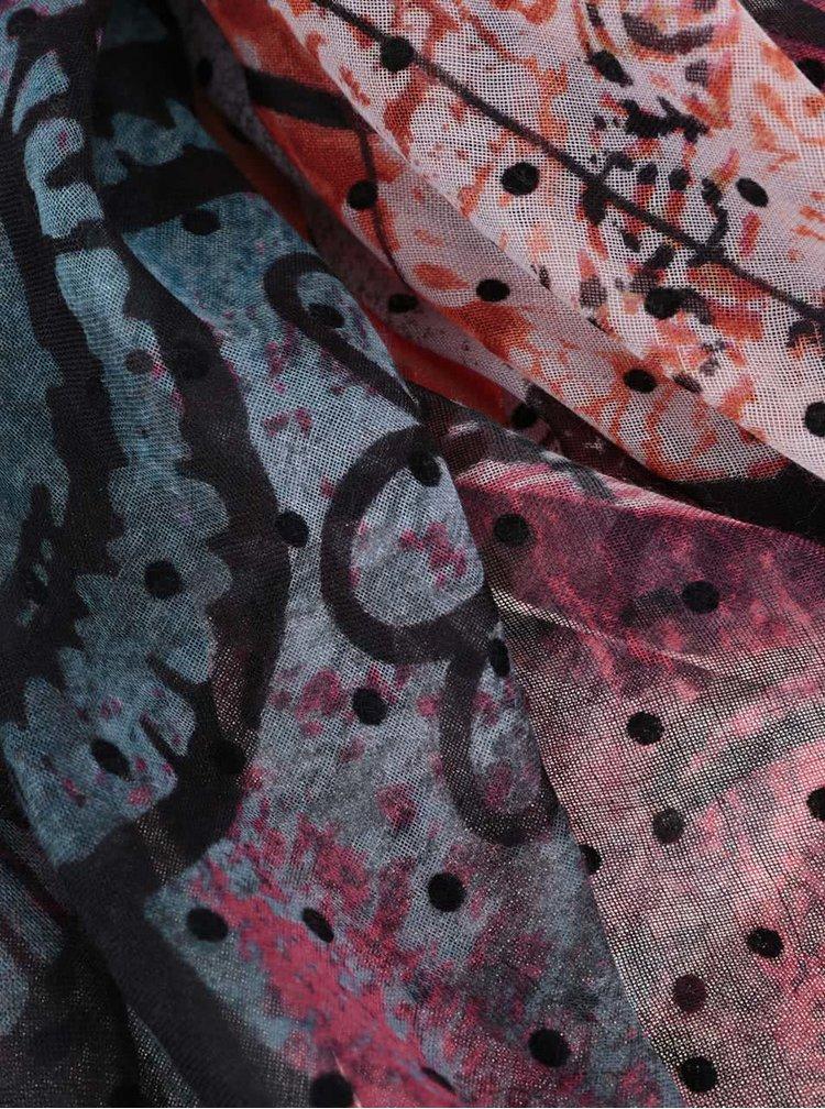 Růžovo-tyrkysový vzorovaný šátek Desigual Urano