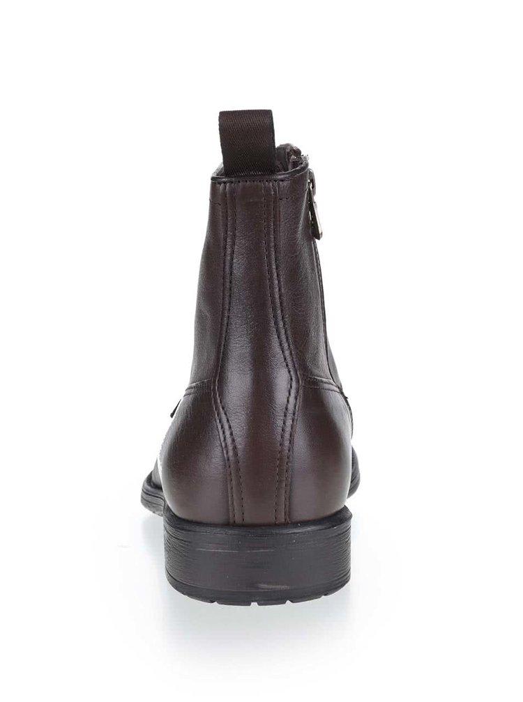 Tmavě hnědé pánské kožené kotníkové boty Geox Jaylon