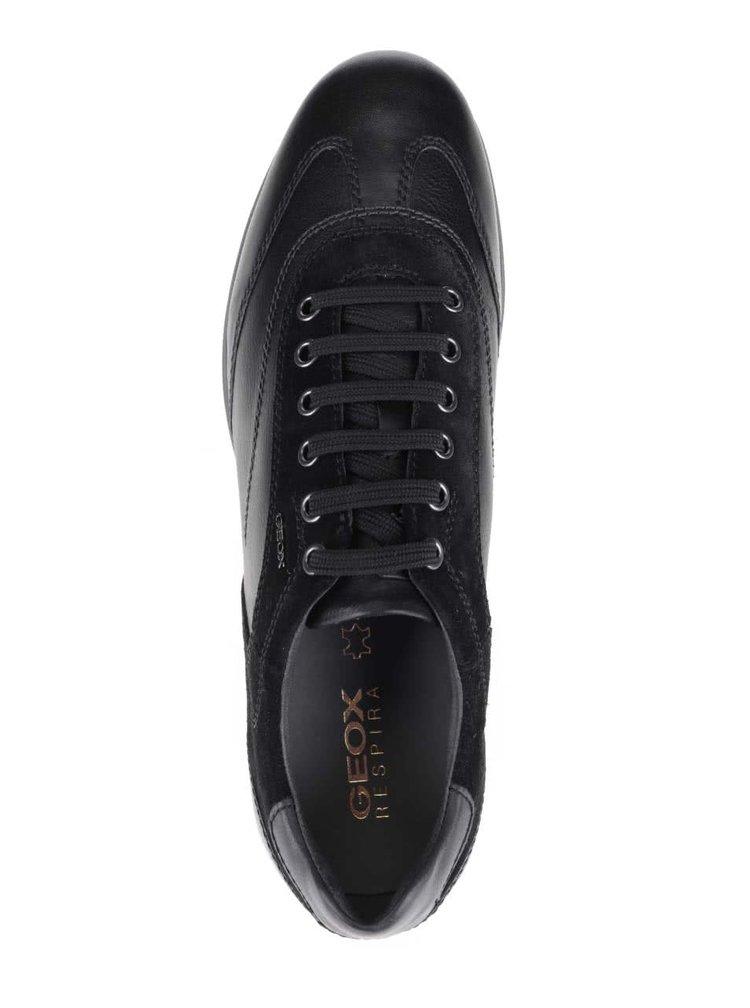 Černé pánské kožené tenisky se semišovými detaily Geox Avery