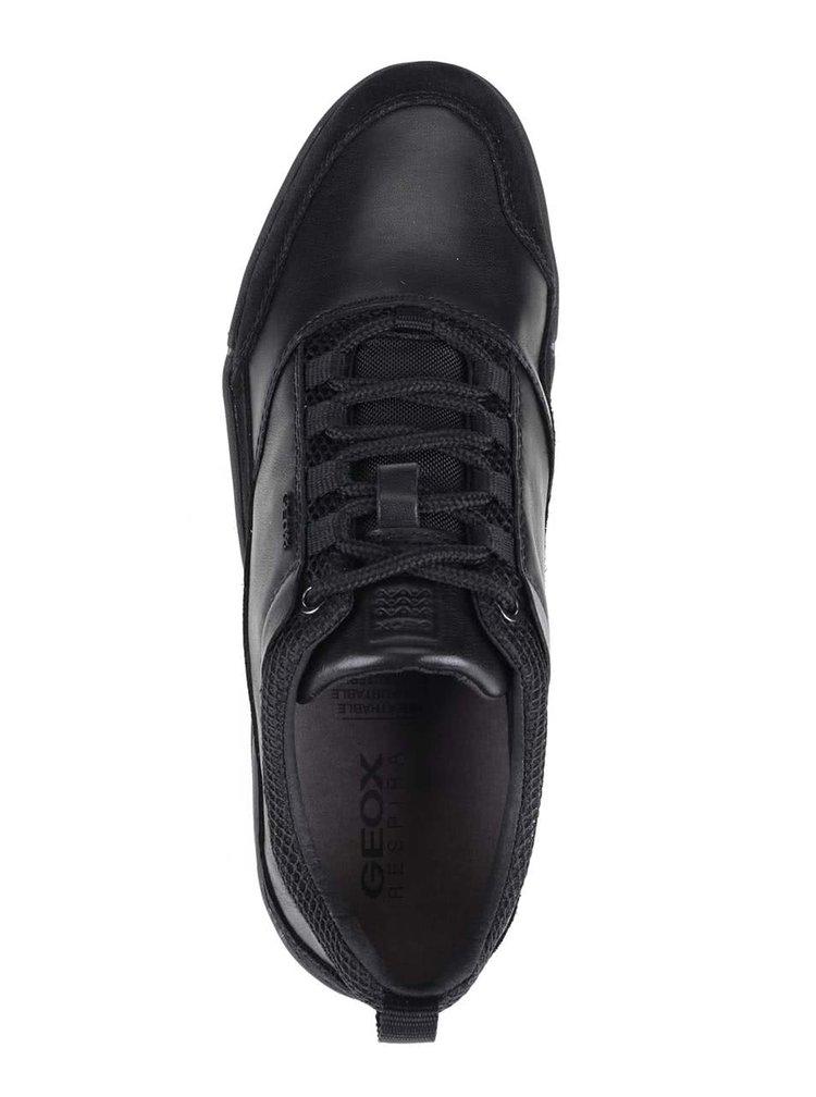 Čierne pánske kožené tenisky so semišovými detailmi Geox Ailand