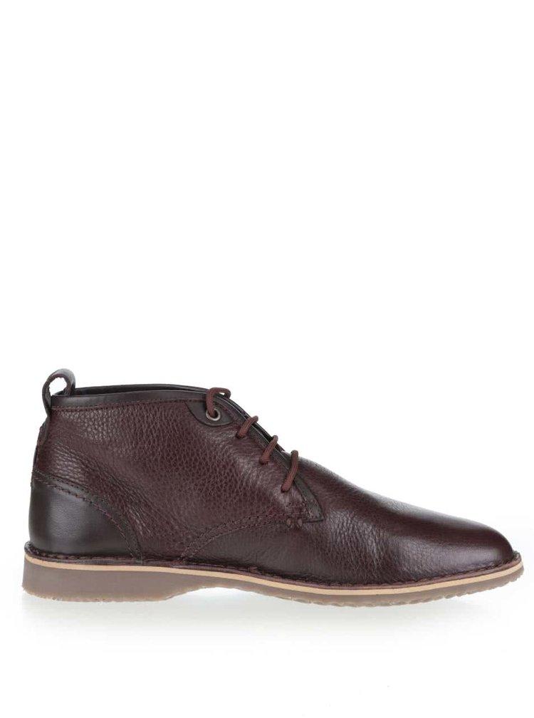 Hnedé pánske kožené členkové topánky Geox Zal
