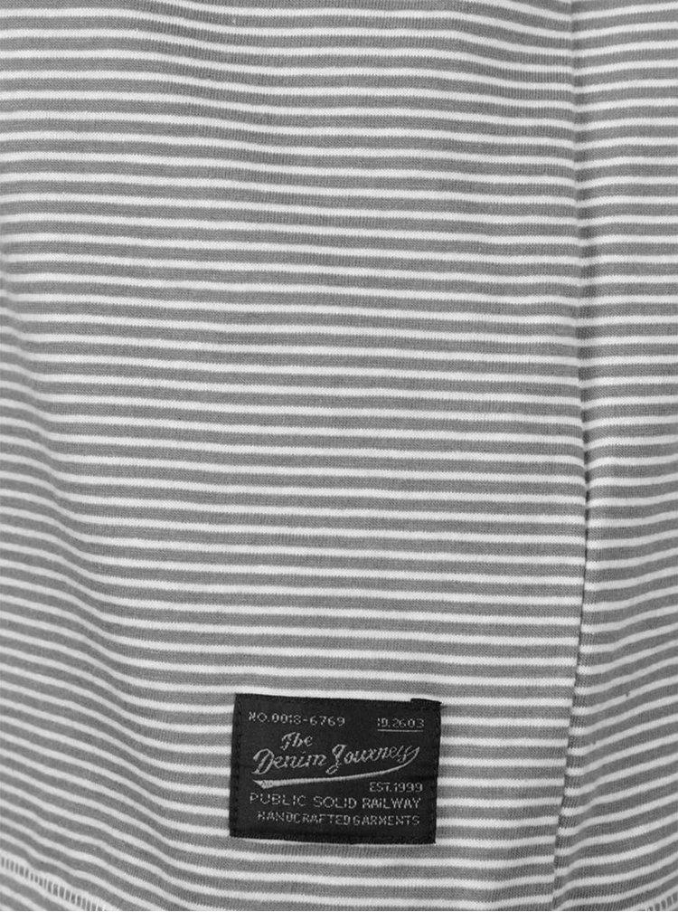 Bielo-sivé pruhované tričko s dlhým rukávom !Solid Donato