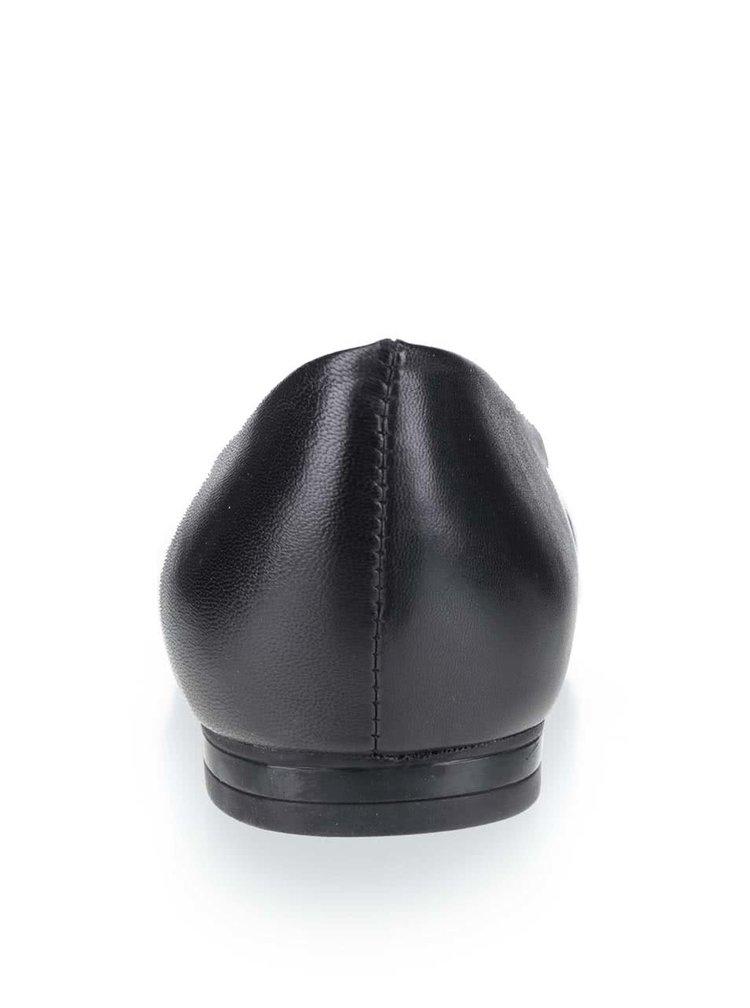 Černé dámské kožené baleríny Geox Rhosyn
