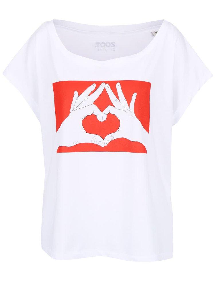 Biele dámske oversize tričko ZOOT Originál Ruce srdce