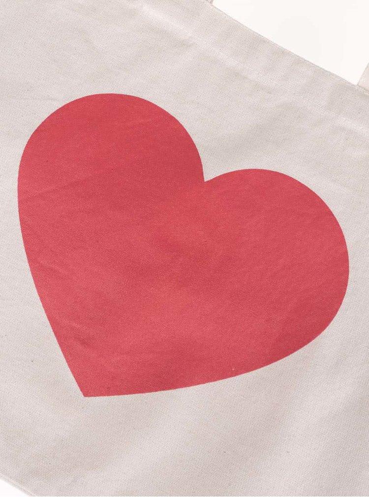 Krémová větší plátěná taška ZOOT Originál Srdce