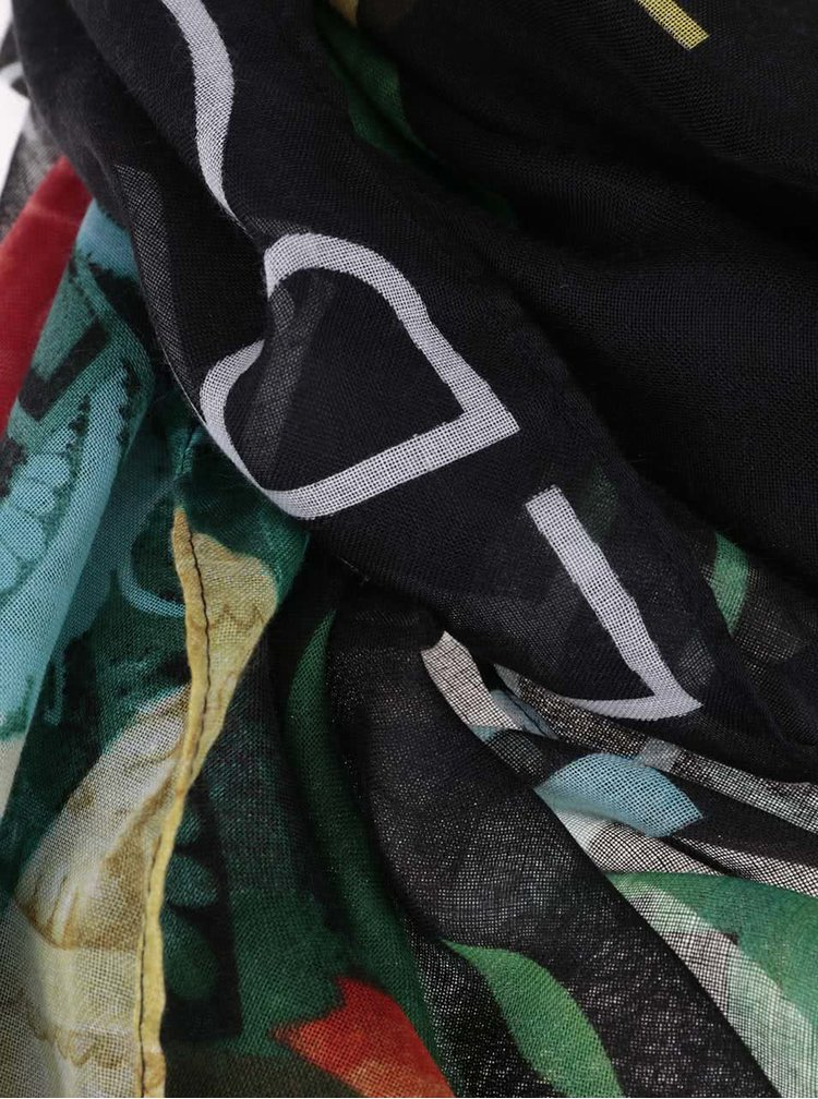 Esarfa multicolora Desigual Heritatge cu imprimeu