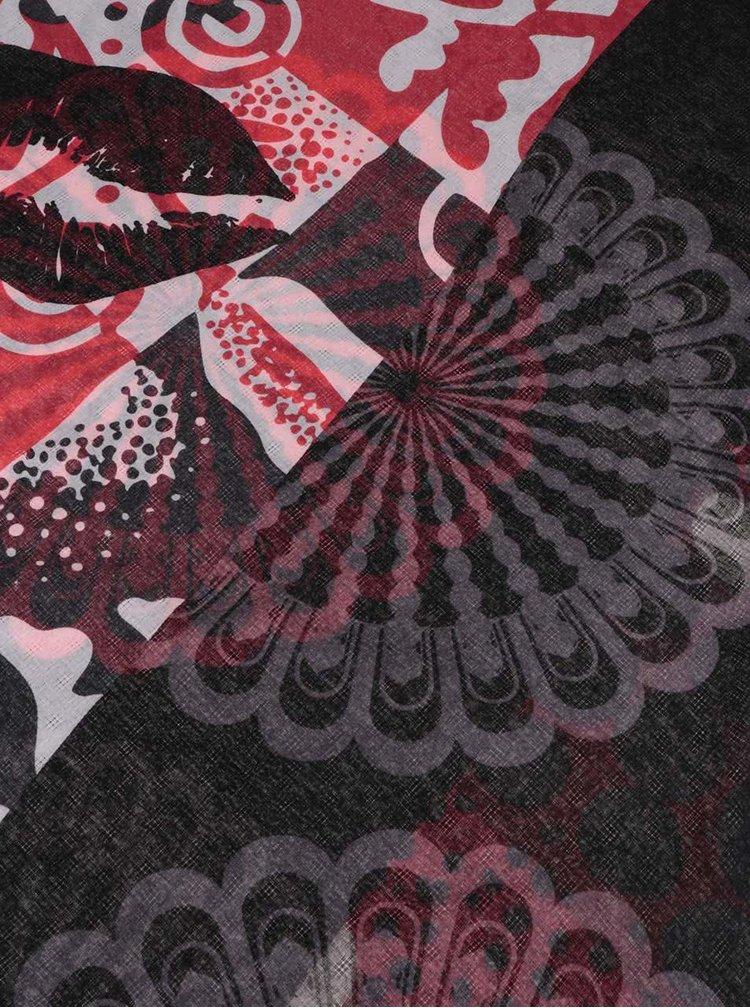 Červeno-sivá vzorovaná šatka Desigual Kisses