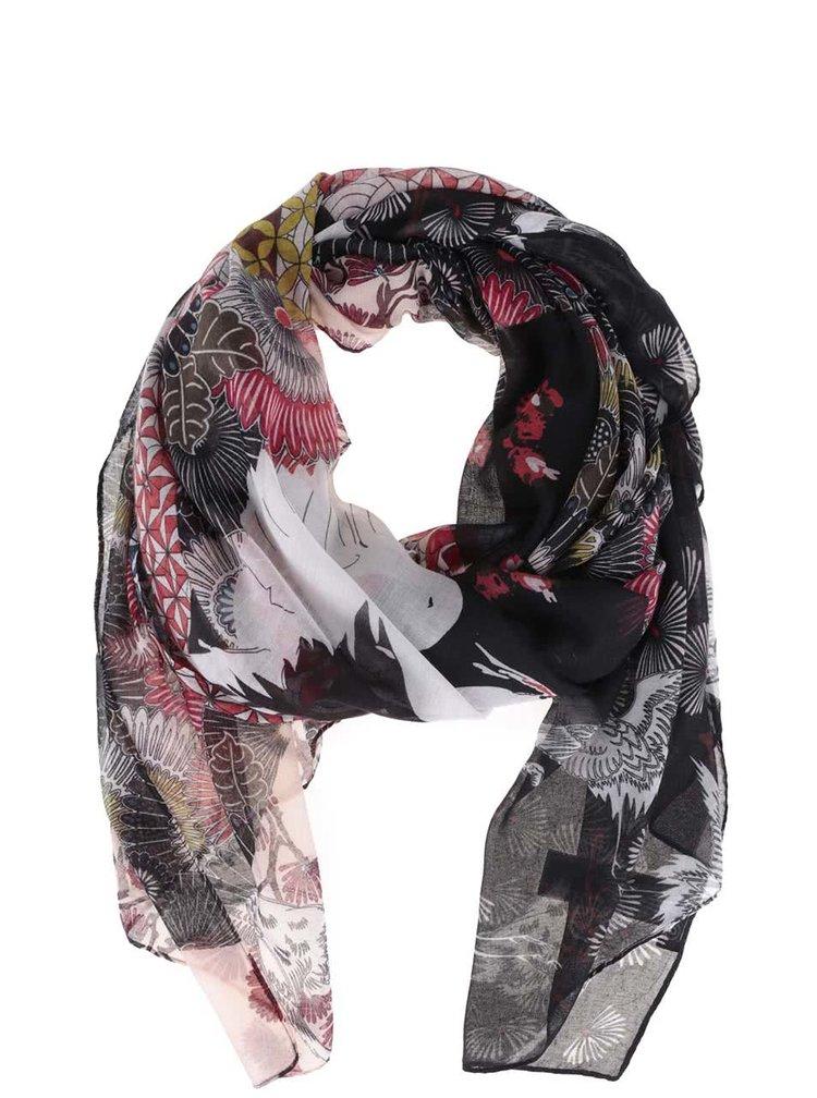Krémovo-černý vzorovaný šátek Desigual Japan Fresh