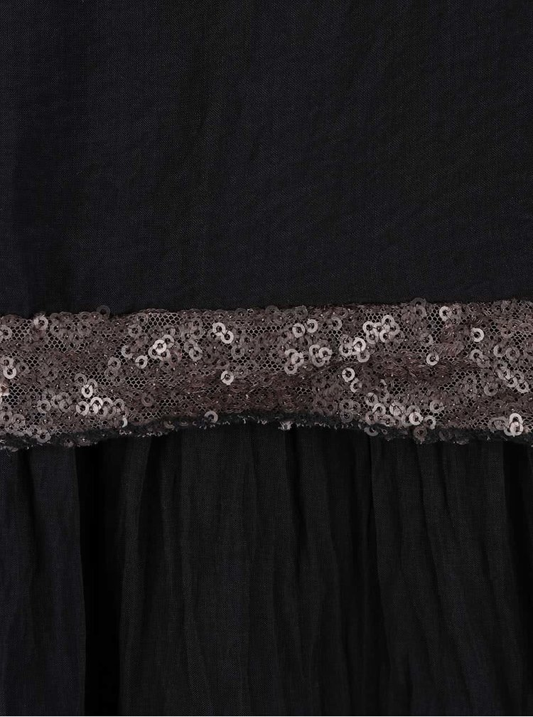 Čierny hodvábny top s flitrovaným lemom ZOOT Now