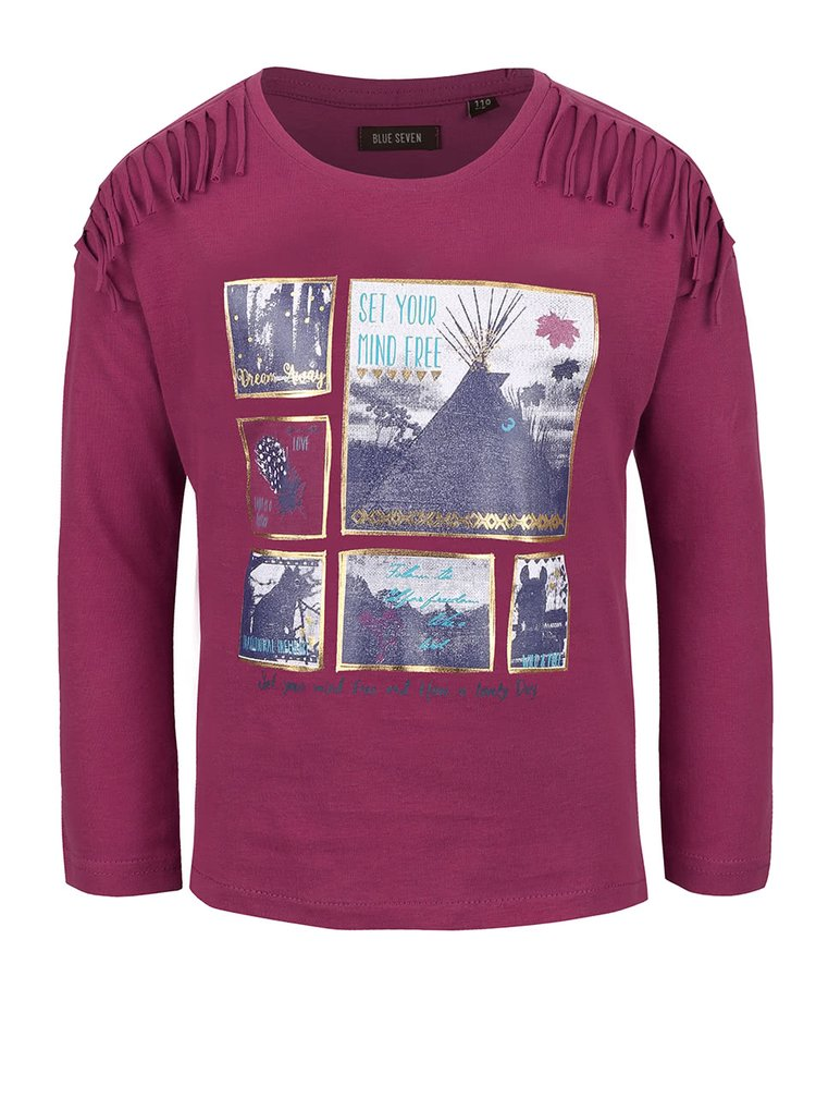 Fialové holčičí tričko s potiskem a třásněmi Blue Seven