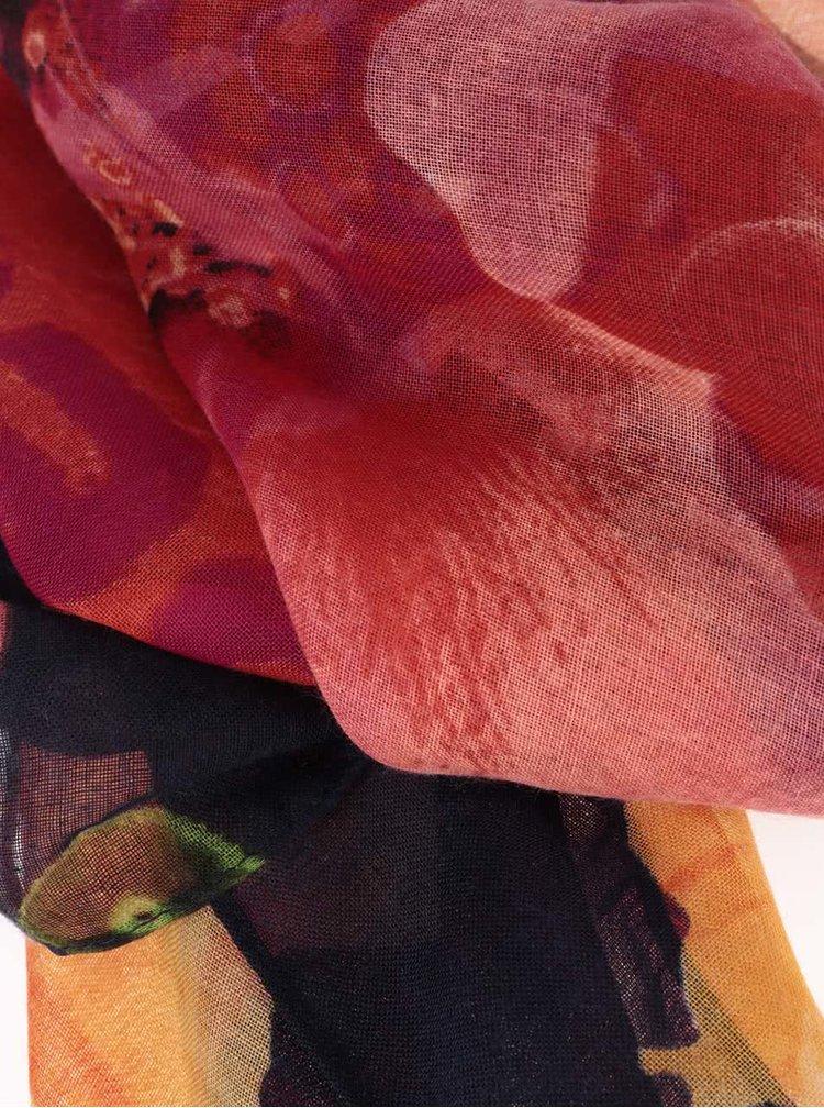 Tmavě modrý šátek s barevnými květy Desigual Yeah!!!
