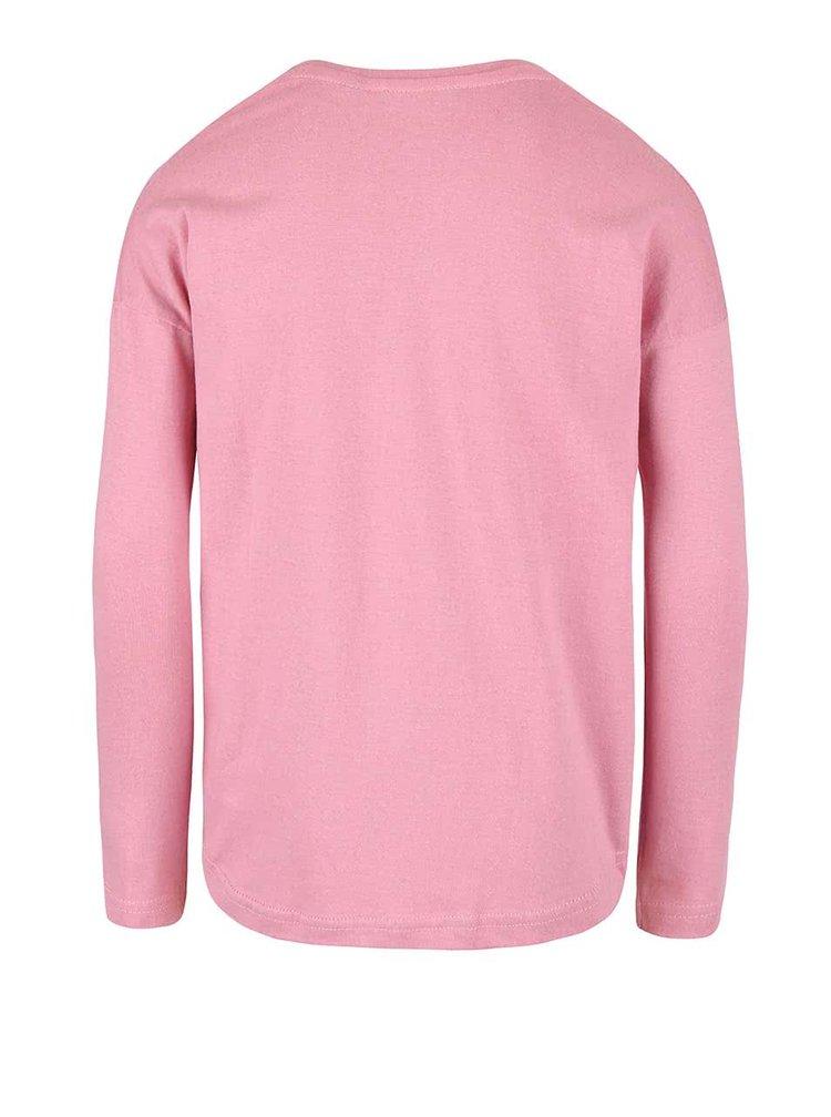 Ružové dievčenské tričko s dlhým rukávom Blue Seven
