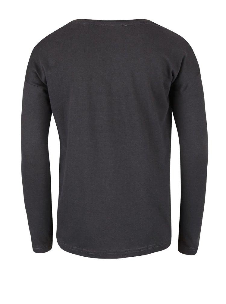 Tmavě šedé holčičí tričko s dlouhým rukávem Blue Seven