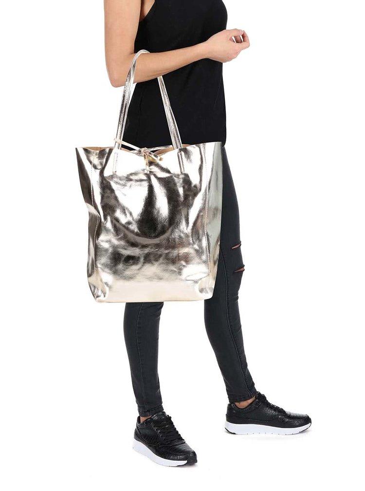 Kožený lesklý shopper ve zlaté barvě ZOOT Simple