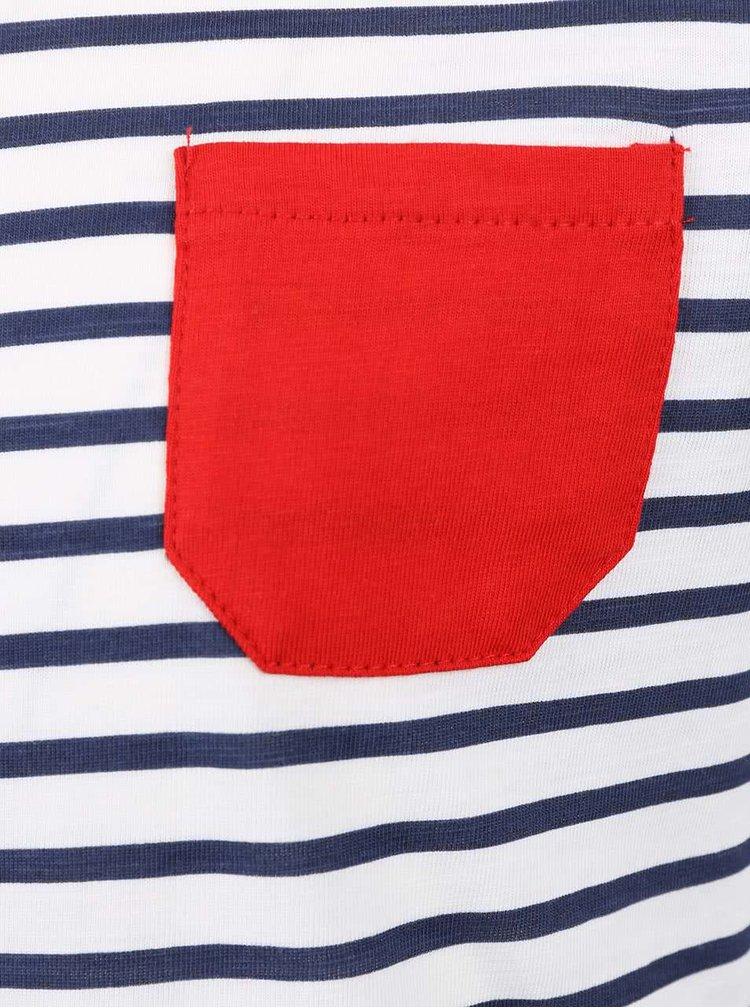 Krémové holčičí tričko s modrými pruhy Blue Seven