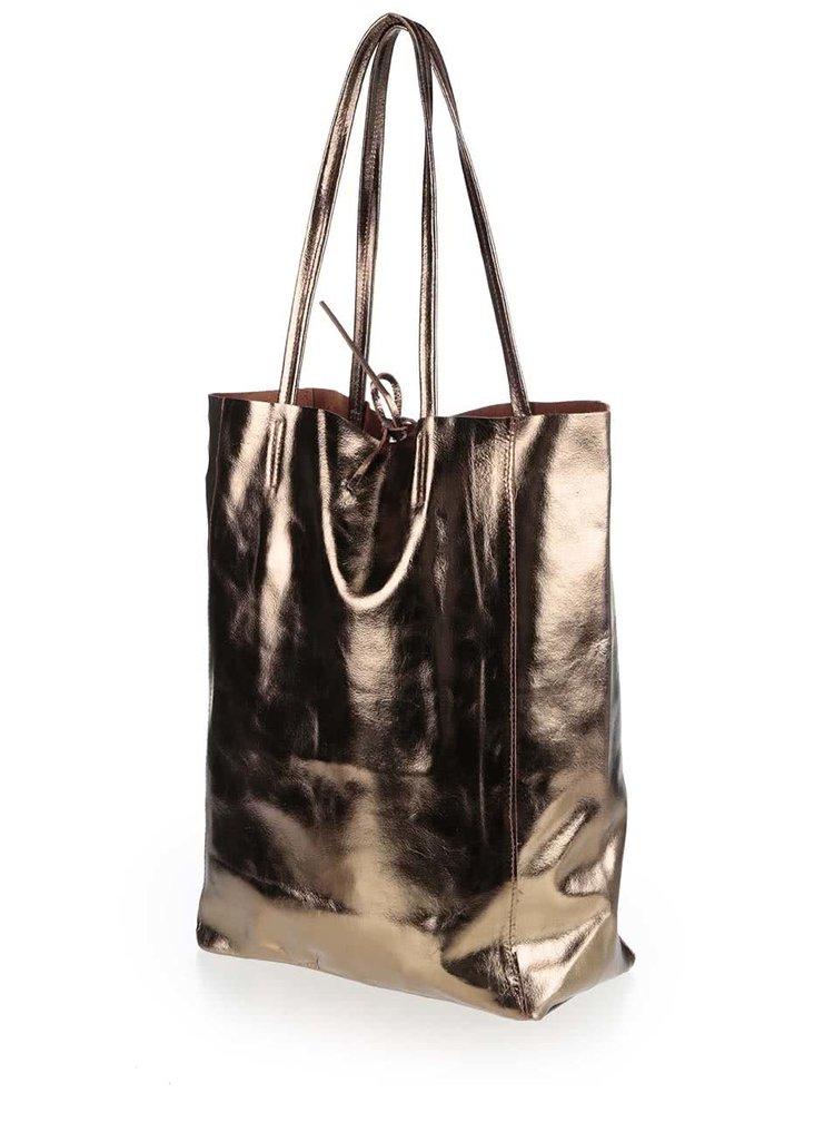 Kožený lesklý shopper v tmavozelenej farbe ZOOT Simple