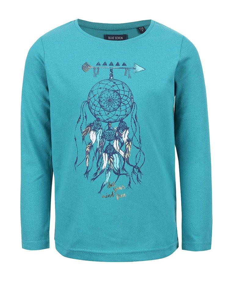 Petrolejové holčičí tričko s kulatým výstřihem Blue Seven