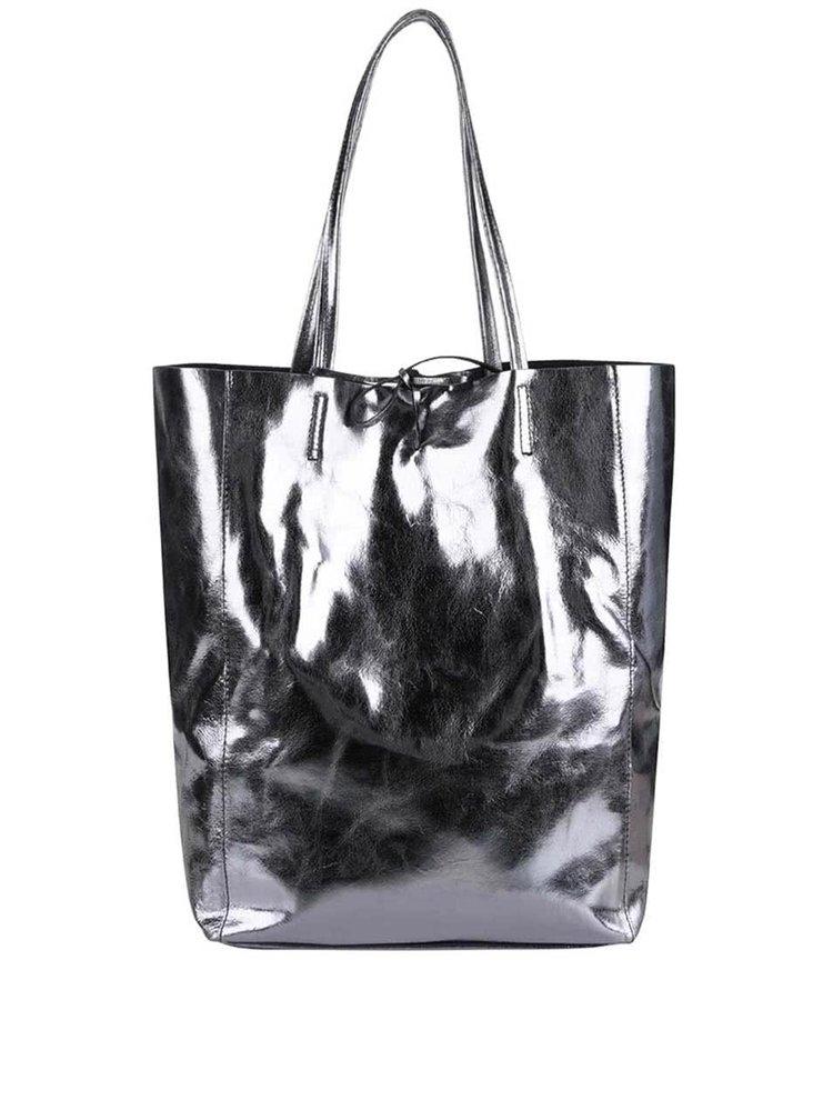 Kožený lesklý kožený v šedé barvě shopper ZOOT Simple