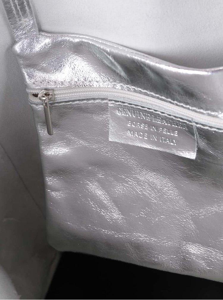 Geanta shopper argintie din piele - ZOOT Simple