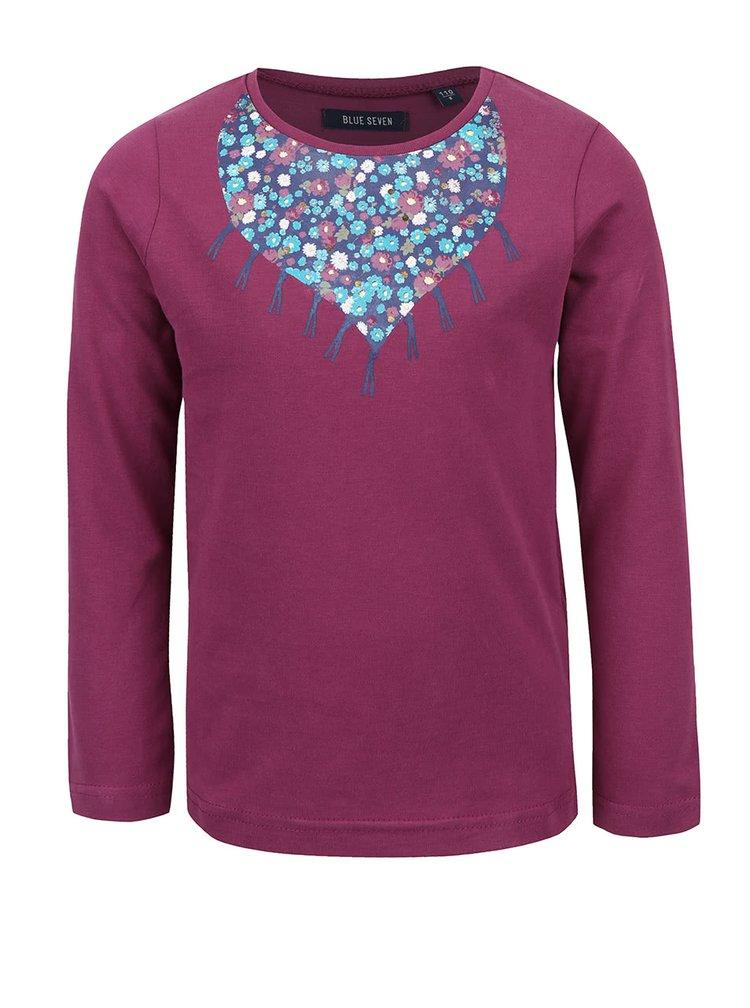 Vínové dievčenské tričko s dlhým rukávom Blue Seven