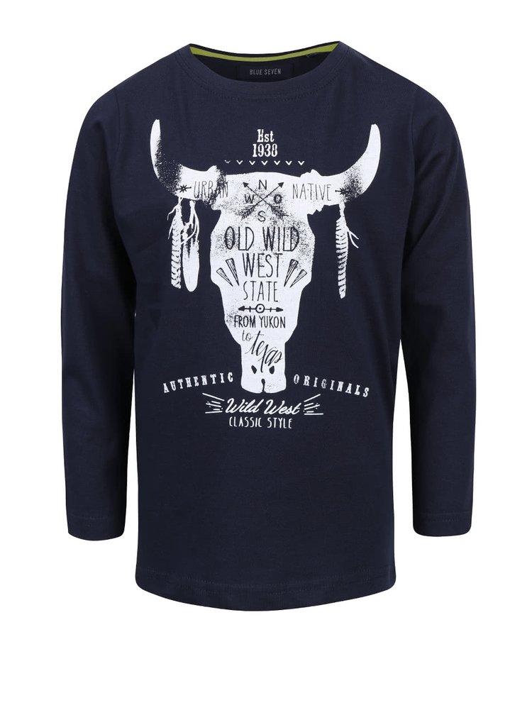 Tmavě modré klučičí tričko s westernovým motivem Blue Seven