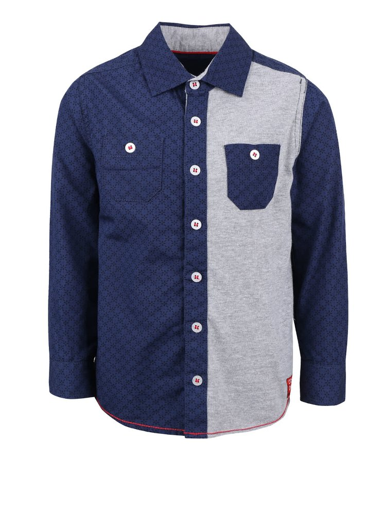 Sivo-modrá chlapčenská košeľa so vzorom Blue Seven
