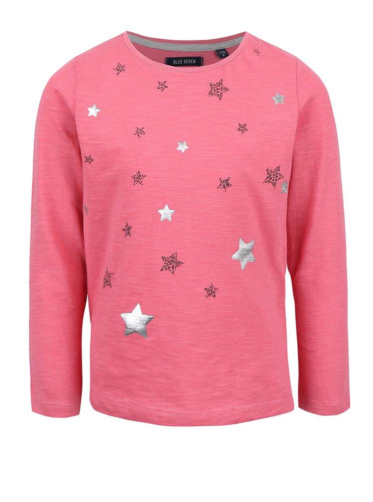 Růžové holčičí tričko s potiskem hvězd Blue Seven