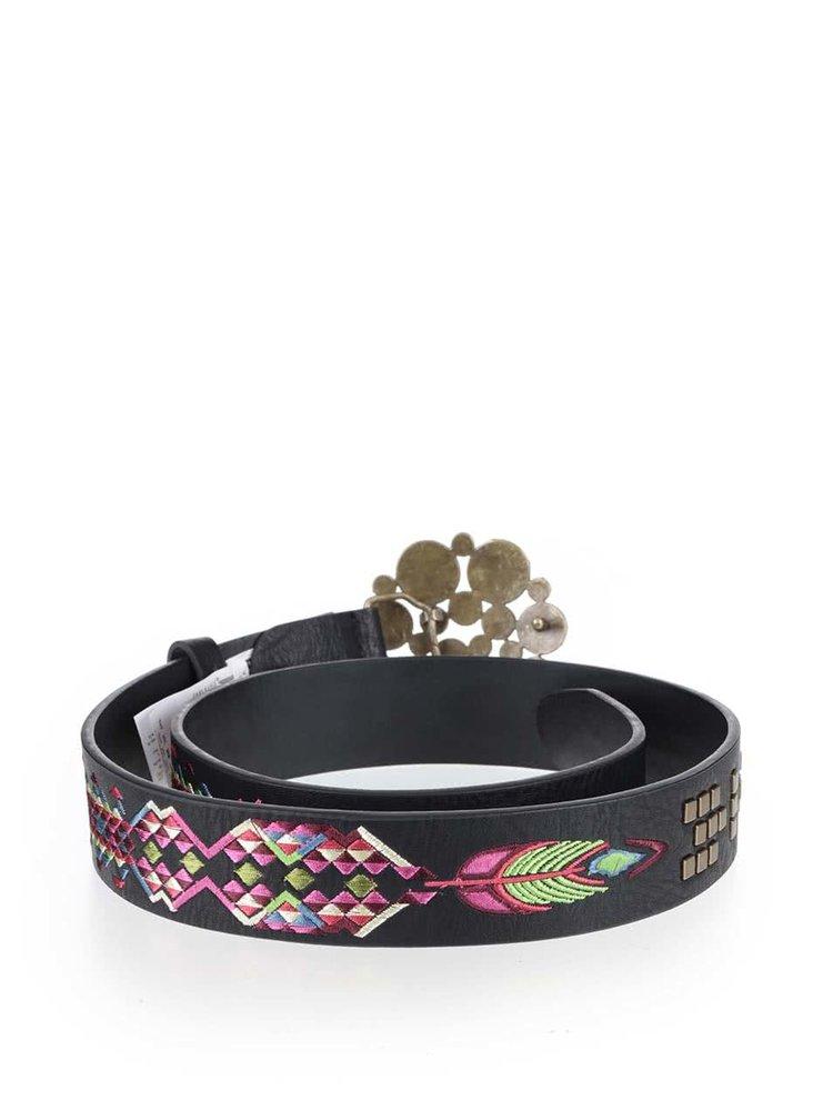 Černý pásek s barevnou sponou Desigual Wild Rose