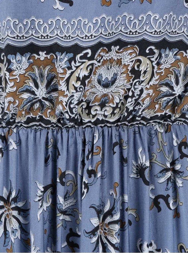 Modré kvetované maxi šaty so stiahnutím v páse ZOOT Now