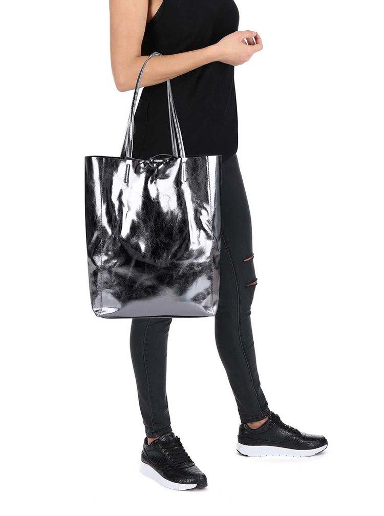 Lesklý kožený shopper v šedé barvě ZOOT Simple