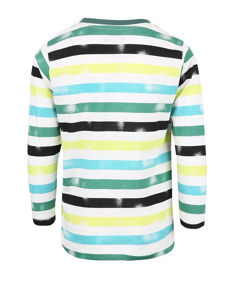 Bílé klučičí tričko s potiskem a zelenými pruhy Blue Seven