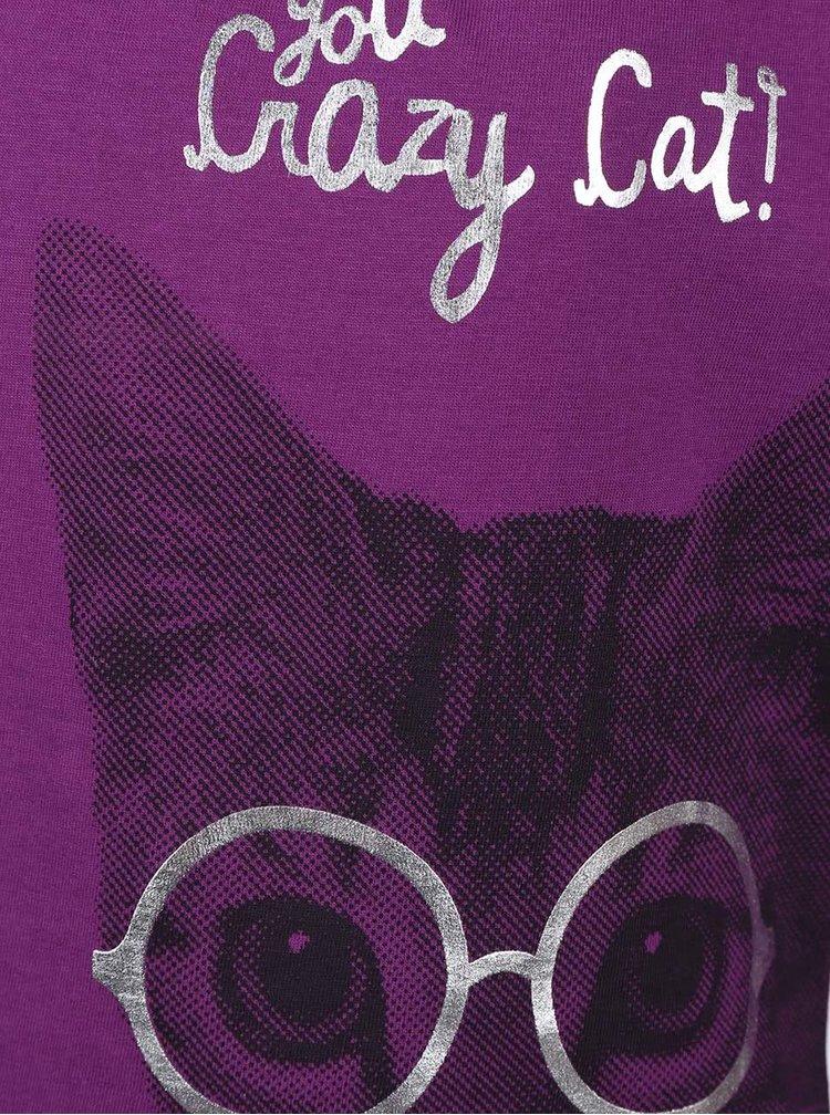 Fialové holčičí tričko s potiskem kočky v brýlích Blue Seven
