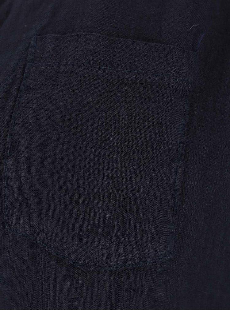 Tmavě modrá lněná halenka s prodlouženou zadní částí ZOOT Simple