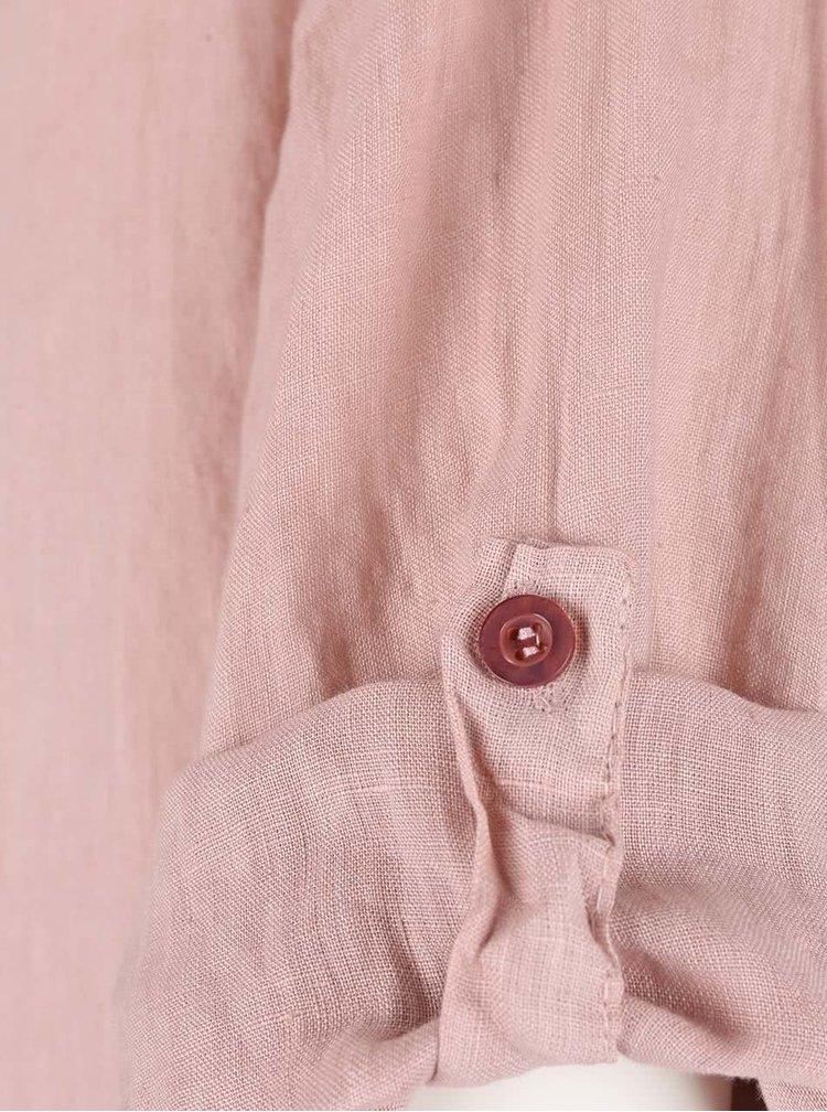 Růžová lněná halenka s prodlouženou zadní částí ZOOT Simple