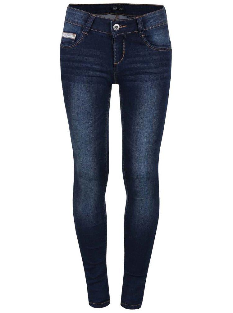 Tmavě modré klučičí džíny se sepraným efektem Blue Seven