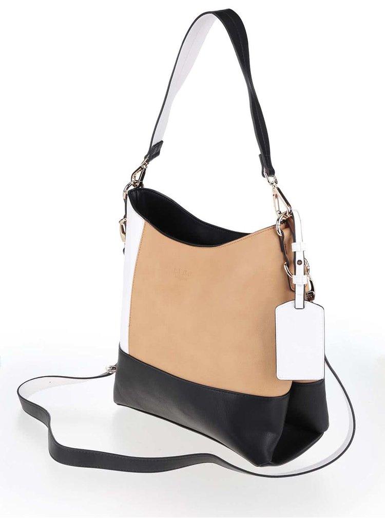 Černo-bílo-hnědá větší kabelka LYDC