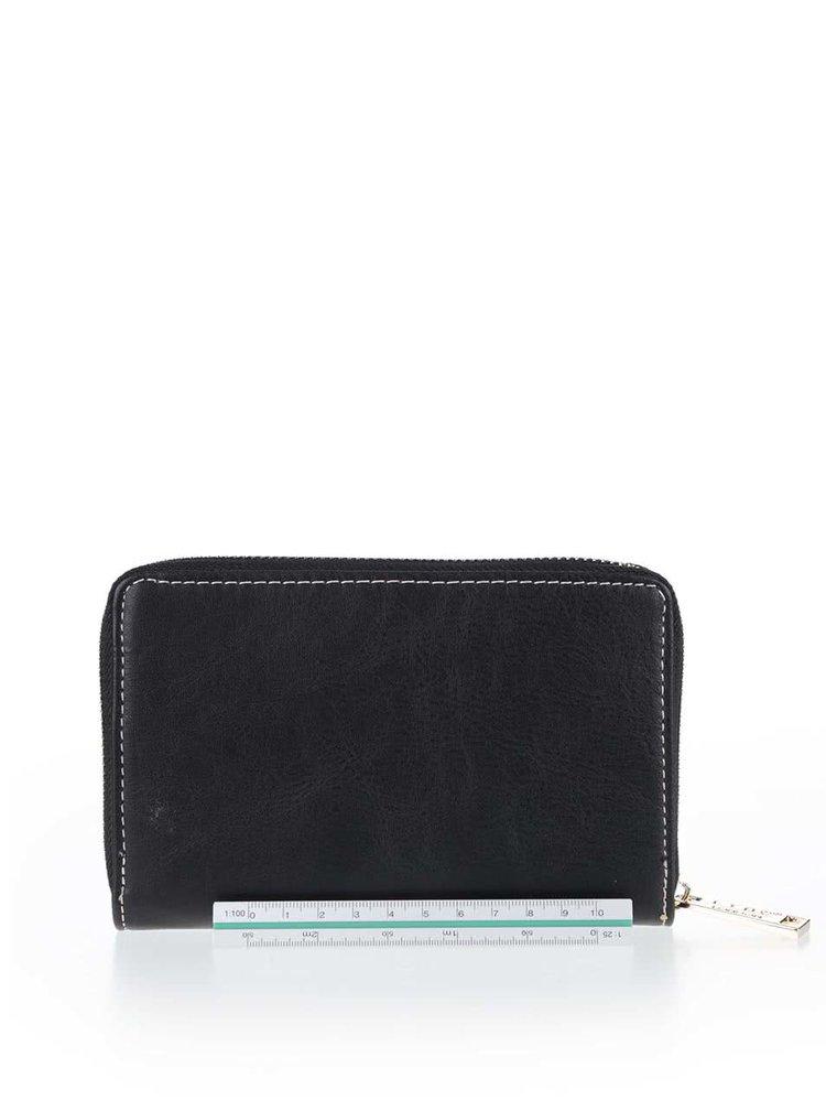 Čierno-bielo-hnedá peňaženka na zips LYDC