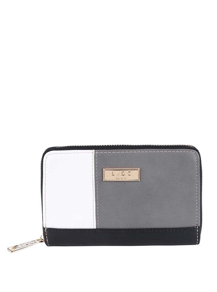 Černo-bílo-šedá peněženka na zip LYDC