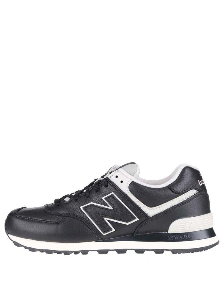 Krémovo-čierne pánske kožené tenisky New Balance