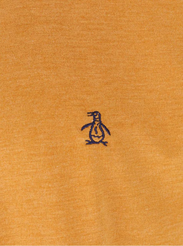 Žlutohnědé žíhané triko Original Penguin Jersey