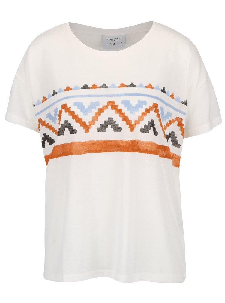 Tricou crem cu print VERO MODA Inka