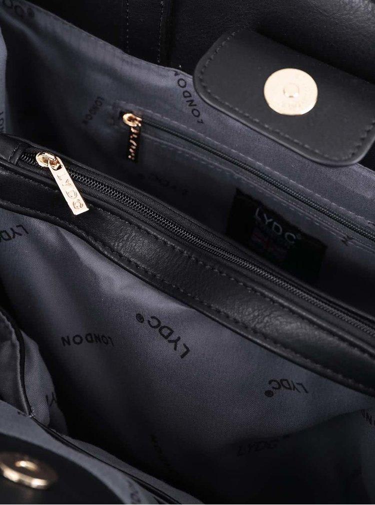 Černo-bílo-hnědá velká obdelníková kabelka LYDC