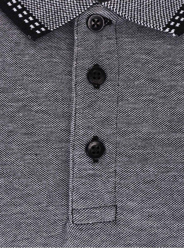 Sivá polokošeľa so vzorovaným golierom Original Penguin Tipped duo