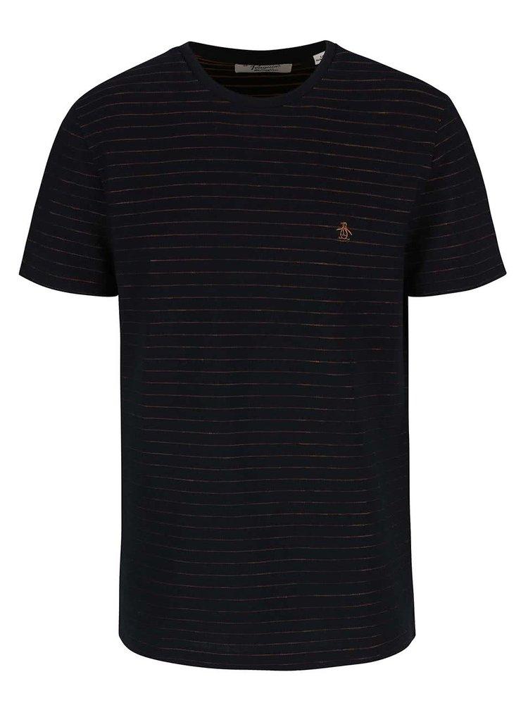 Čierne tričko s pruhmi Original Penguin Jacquard