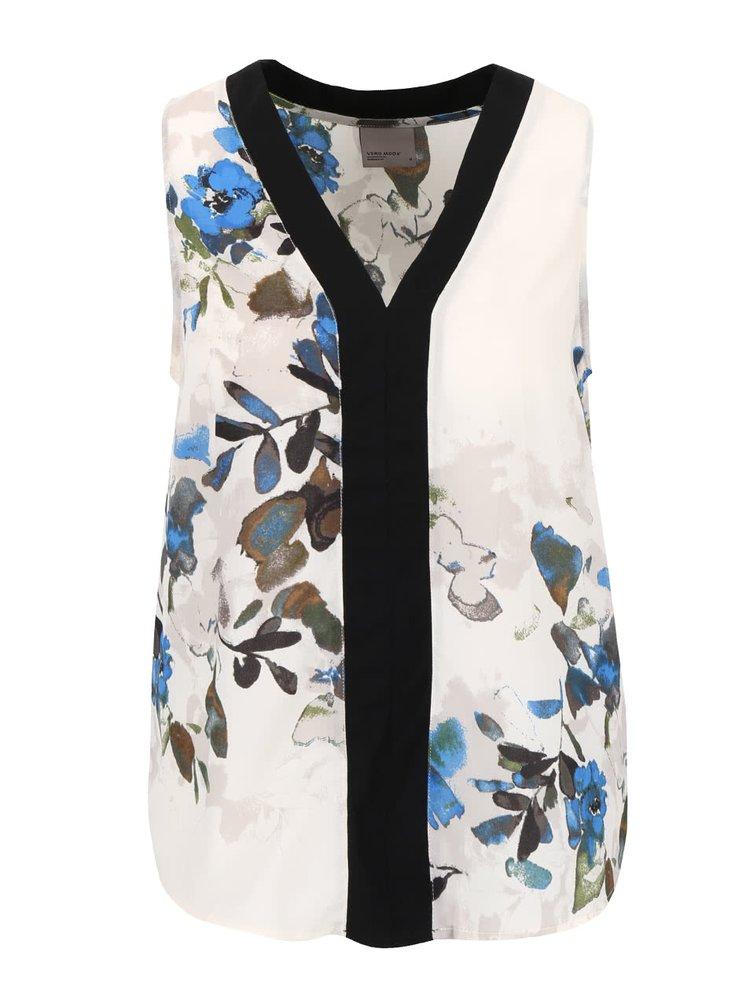 Krémovo-modrá kvetinová blúzka bez rukávov VERO MODA Wanda