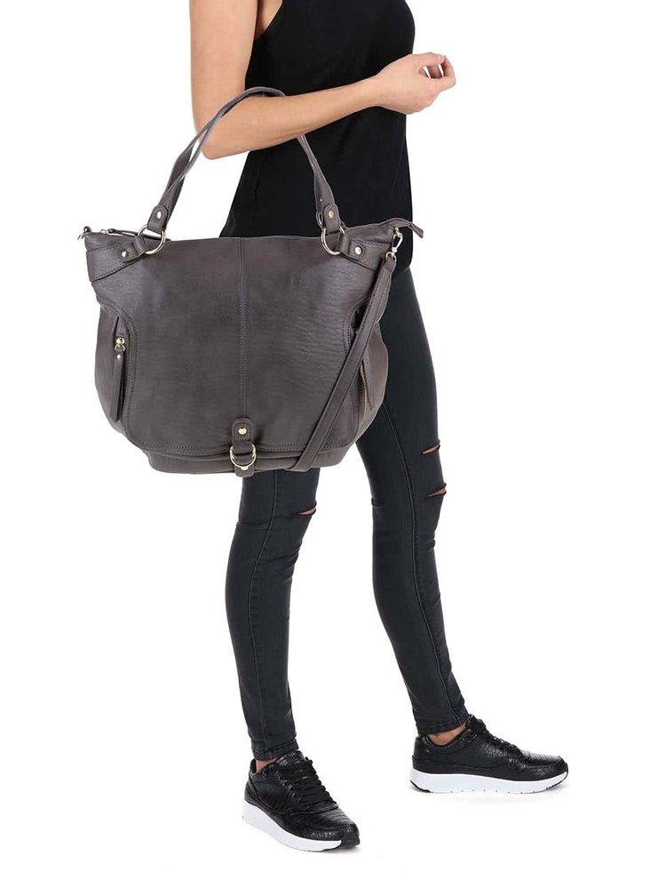 Tmavě šedá kabelka s odnímatelným popruhem Pieces Pella